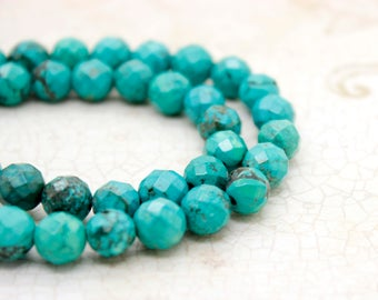 Stabilized Turquoise Faceted Round Gemston Beads (4mm, 6mm, 8mm, 10mm, 12mm)