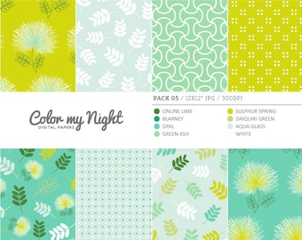 80% OFF SALE Digital Paper Green 'Pack05' Floral, Leaves, Dots & Geometric Scrapbook Backgrounds for Invitations, Scrapbooking, Crafts...