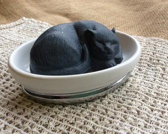 Activated Charcoal Cat Shaped Soap, Detox Soap, Peppermint Spearmint & Eucalyptus scented