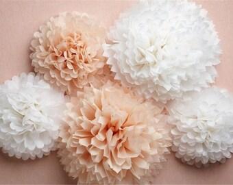"Pompoms 40( 14"") paper flower/ flower balls/ wedding decoration/ decoration/ paper flower poms/ baby shower/engagement party decorations"