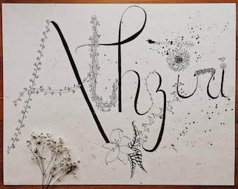 Custom Calligraphed Name with floral doodles