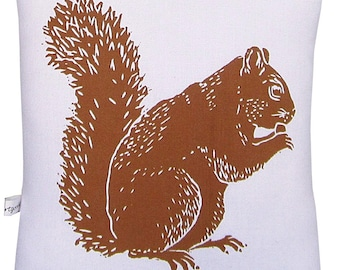 block print squirrel squillow accent pillow