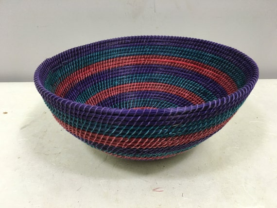Basket African Lesotho Purple Red Woven South Africa Handmade Hand Woven Coiled Woman Unique SM29