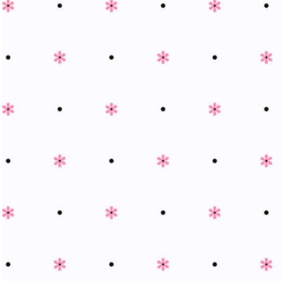 Pretty pink and black daisy and black polka dots on white zoom voltagebd Images