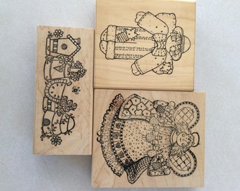 Rubber stamps set of three
