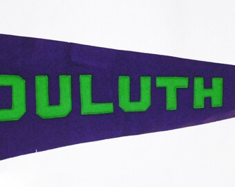 Genuine Vintage Original Early Felt Sewn Letters Pennant Duluth Minnesota -- Free Shipping!