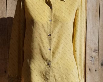 1970s Designer Iconic GG Pattern Gucci Shirt, G.Gucci Gold Silk Blouse, Golden Designer Buttondown Shirt, Made in Italy