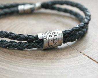 Men's Personalized Bracelet, Leather And Sterling Silver, Men's Bracelet, Secret Message, Boyfriend Gift, Custom - Blair Bracelet