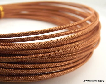 Textured Copper Anodized Aluminum Wire, Crosshatch Pattern, 12 gauge, 45 foot coil