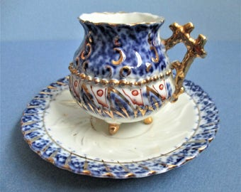 Victorian Era Demitasse Cup 1880 German Espresso Cup Vintage Gold Twig Handle Gilded Tea Cup Hand Painted Blue Gold Gilt Cup and Saucer