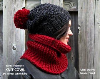 Knit cowl, chunky knit cowl, knit winter cowl, knit winter scarf, knit neckwarmer, red knit cowl, red knit scarf, soft & cozy scarf