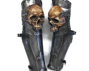 Larp Armor, Ominous Skull Legs, greaves, cosplay, bone, orc, cosplay armor, leg armor