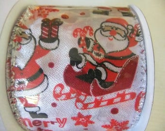 CHRISTMAS RIBBON - Santa Claus - 10 yards by 2.5 inch spool - wire edged