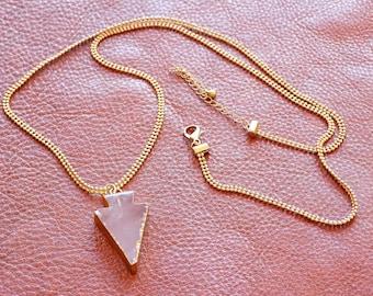 Rose Quartz Arrow Head Pendant on a Long Gold Chain