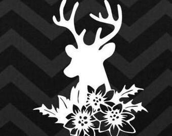 Floral Deer Head, Hunting decal,