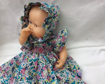 dress has smocked Liberty Claire Aude Turquoise doll 30 cm