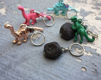 Dinosaur's Rock! Set of 6 Dinosaur and Druzy Stone Stitch Markers for Knitters & Crocheters
