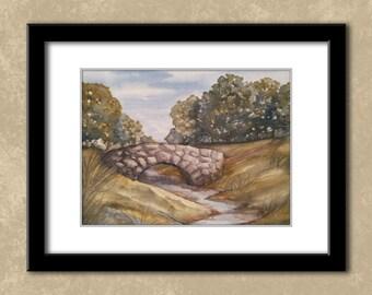 9x12 inch Bridge Landscape Watercolor Original Painting - One of a Kind - OOAK