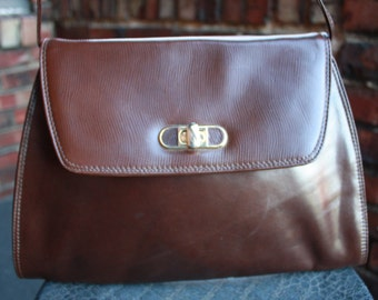 Vintage Genuine Leather Brown Shoulder bag, Made in ITALY