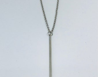Dainty Minimalist Silver Bar Geometric Pendant Necklace Chain