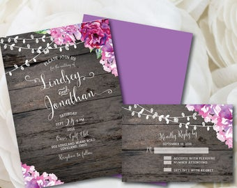 Purple Wedding Invitation, Rustic Wedding Invitation, Printable Wedding Invitation, Purple, Wedding, Invitation, Printable, DIY, Floral