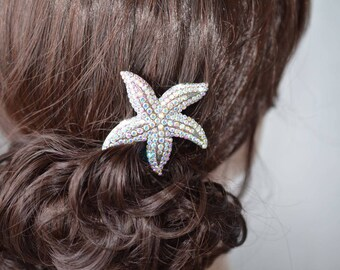 Silver or Gold Handmade Aurora Borealis AB Crystal Rhinestone Starfish Hair Clip, Bridal, Wedding (Sparkle-2727)