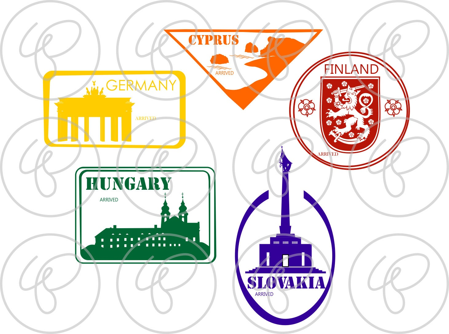 Passport stamps european landmarks and national symbols digital this is a digital file biocorpaavc Image collections