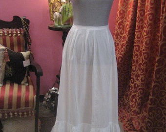 "1900's, drawer string waist (up to 36""), batiste cotton white trained back petticoat,"