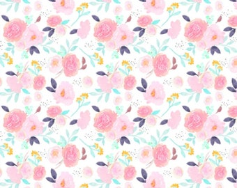 Baby Swaddle | Floral Baby Swaddle, Pink Floral Swaddle, Pink, Aqua, Flowers, Flower Baby Swaddle, Organic Baby Swaddle, Floral Baby Bedding