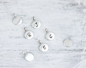 Sterling Silver Initial Charm, Small Initial Charm Necklace, Tiny Sterling Silver Initial Pendant,Silver Alphabet Charm, Silver Letter Charm