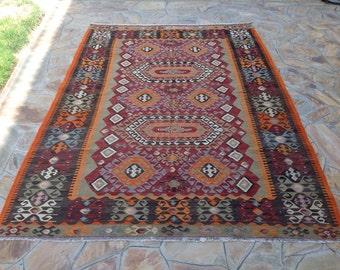 "Turkish Kilim rug, vintage rug, 120"" x 82"", red and blue rug, area rug, Kilim rug, Vintage rug, kelim rug, vintage bohemian rug, 700"