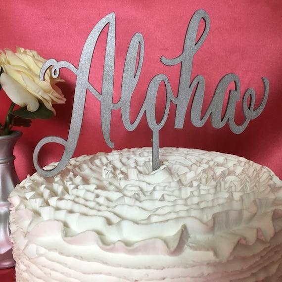 Wedding Cake Topper, Aloha Cake Topper, Hawaii Decor, Hawaii Cake Topper, Cake Topper For Wedding, Cake Topper For Party, Glitter Cake