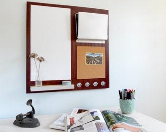 MESSAGE CENTER: Cork Board Magnetic White Board, Office Organization Home Office Organization Key Hooks and Shelf Mail Magazine iPad Storage
