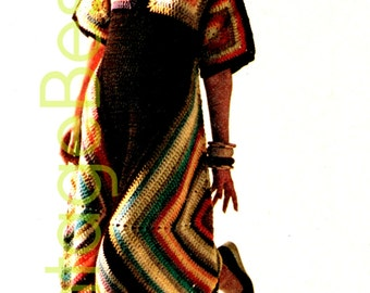 3 CROCHET PATTERNS Vintage 70s Granny Square Dynamite Dress Crochet Pattern Granny Square Top Triangle Scarf Hippie Boho Instant PdF Pattern