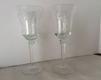 Early 20th Century Made in Romania Etched Wine Glasses Wedding Toasting Glasses (set of 2)