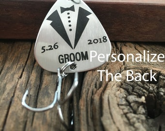 Personalized Date Groom Fishing Lure Gift Wedding Gift For The Groom Fishing Lure Gift for Engaged Fisherman Gift For Man Of Honor Lure