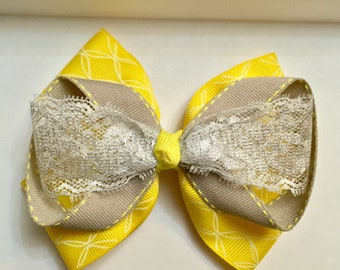 Yellow and gray lace stacked boutique bow