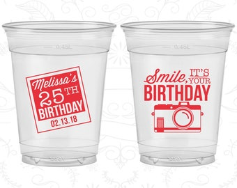 25th Birthday Soft Sided Cups, Smile, its your birthday, vintage camera, Disposable Birthday Cups (20053)