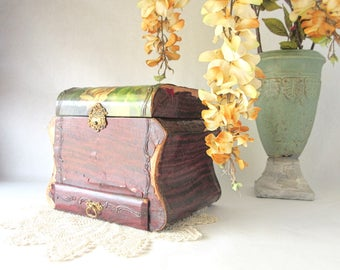 Antique Collar Box / Beveled Mirror / Stay Drawer / Brass Hardware / Repurpose