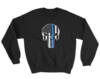 Thin Blue Line Police Support Skull and Flag Sweatshirt