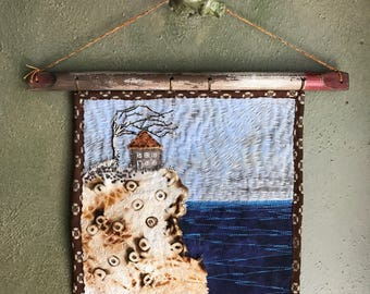 Seaside Abode - Handmade Embroidered Art Quilt - Walnut Ink, Rust, Pyrography OOAK