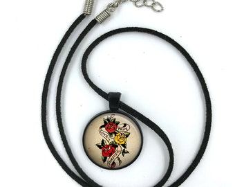 Sailor Jerry Necklace, Nautical Pendant,Rockabilly Necklace, Sailor Jerry,Retro Pendant,Pinup Necklace, tattoo,gift for wife,gift for her 20