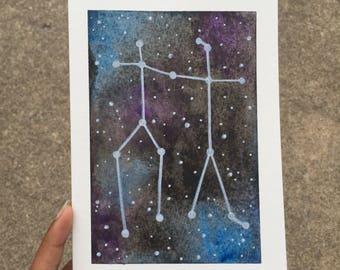 Original Watercolor Galaxy Zodiac Constellation Gemini Frameable Blank Greeting Birthday Card