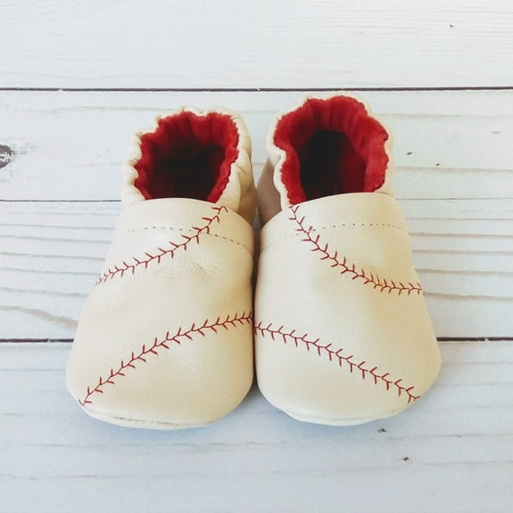 Baseball: Leather Soft Sole Baby Shoes 3-6M