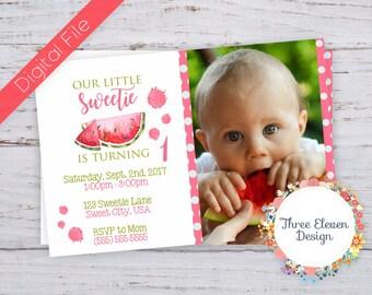 Watermelon Sweetie Printable Birthday Invitation