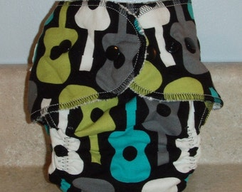 Preemie Newborn Cloth Diaper & Diaper Cover Set-  4 to 9 pounds- Groovy Guitars- 29002