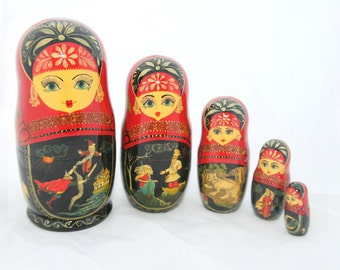 Russian Traditional Nesting babushka Matryoshka Doll (Ruslan & Ludmila - Pushkin), 5 pcs, 7'' Hand Painted doll Free shipping