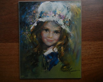 Smiling Young Girl ~ Masonite Plaque