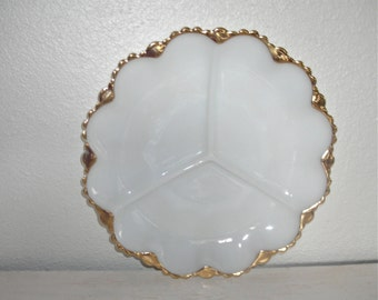 creamy white divided milk glass plate with gold rim - shabby cottage chic - mid century pickle or relish platter