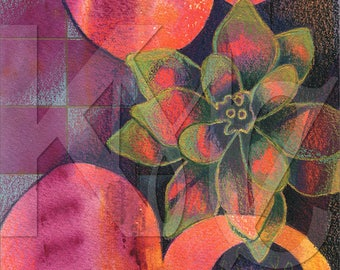 Instant Download - Mixed Media Illustration of Flower